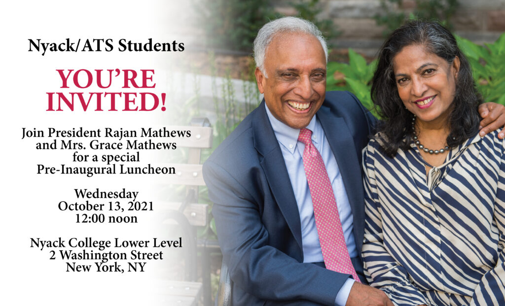 Invitation to the Student Inauguration Luncheon on Oct 13 at noon in the Lower Level
